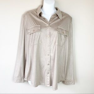 Chico's Suede Button Down Long Sleeve Blouse